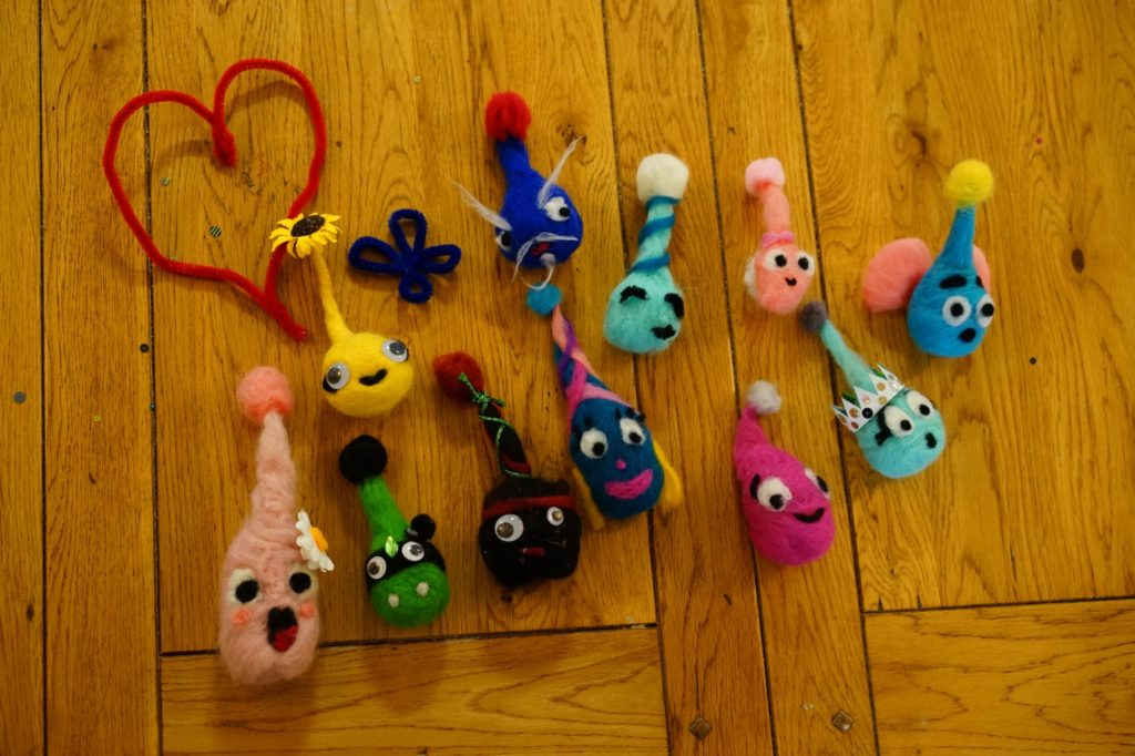 Our first batch of felted imps!