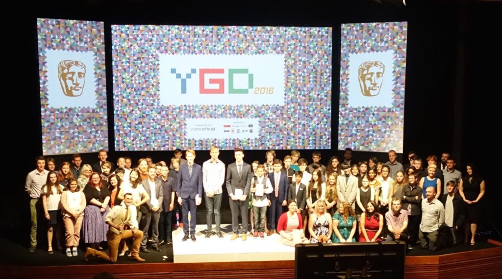 Winners and nominees fill the stage at the Bafta YGD 2016 awards